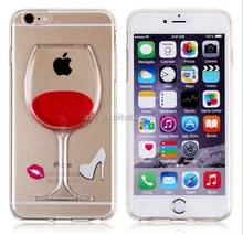 [Wholesale]Fashion Creative 3D Design Flowing Liquid Red Wine Case for iPhone 6 6 Plus #A1142/Ship within 24-48hours, moq 1piece
