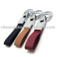 OEM Fashion Metal Leather Keyring / Keychain