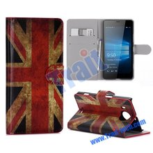 UK Flag Pattern Phone Case, Hot selling Superior quality flip leather phone cases with card slots For Lumia 950