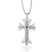 Wholesale Stainless Steel Large Jesus Christ Cross Pendant with Initial