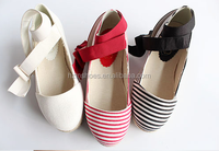 2015 new Ladies high-heel espadrille shoes silk ribbon with bow lovely canvas shoes