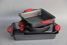 Bakeware Non-Stick Pans Set of 4pc, Bakes Evenly, EZ To Handle Grips,RB--036