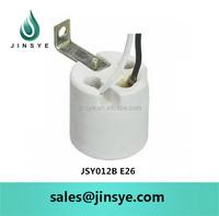 E26 socket base ceramic screw shell lamp holder with wire & bracket