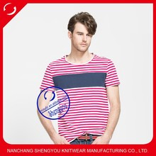 China manufacturing custom cotton yarn dyed mens o-neck t-shirts