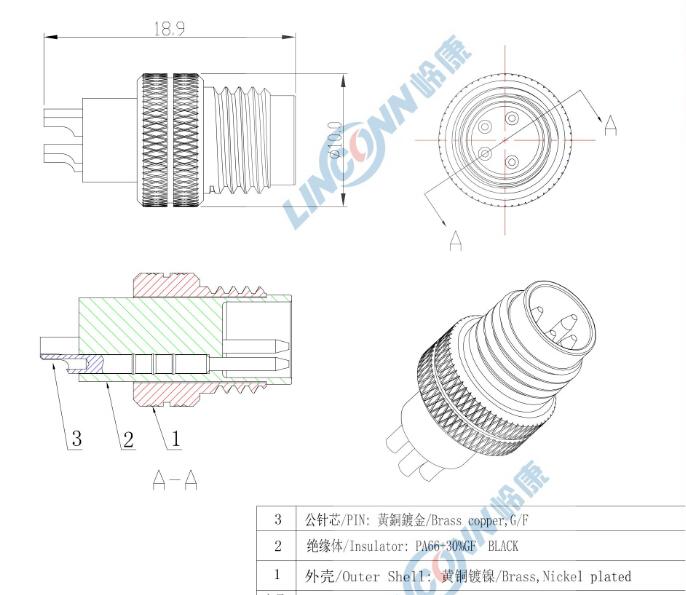 waterproof m12 connector pcb solder type circular connector