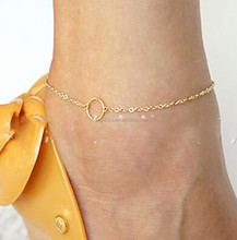 Women Gold Plated Simple O Ring Circle Anklet Barefoot Chain Jewelry