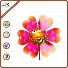 Customized picture printed pp plastic flower pinwheel for festival