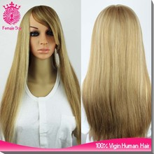 26 inch long jewish wigs light blonde lace front kosher human hair wig on sale