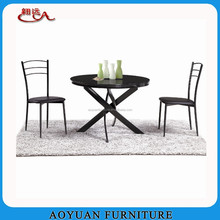 langfang round glass flame plating dining room table set