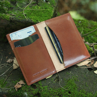 Genuine Italian vegetable tanned leather bifold card wallet