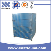 Warehouse pet preform folding storage wire steel crate