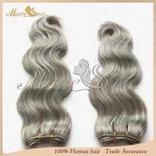 Supply 100% unprocessed brazilian virgin cheap remy hair extensions grey human hair weaving