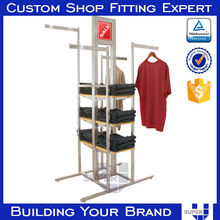 2015 Customized Metal Free standing display clothes hanging racks