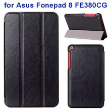 Crazy Horse Texture Three Leather Folio Case for Asus Fonepad 8 FE380CG with Stand