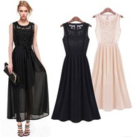 Stylish Lady Women O-Neck Sleeveless ankle-length Chiffon Long suits Dress SV017897
