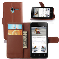 PU Leather Wallet Type Magnet Design Flip Case Cover Credit With Card Slots Case For Alcatel PIXI 3