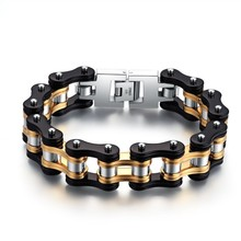 Hot sale stainless steel biker bracelet black&gold filled men style motocycle chain bracelet