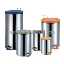 Stainless steel waste paper bin with PP cover and Removable plastic liner for bathroom and kitchen