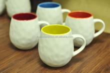 12oz Debossed Ceramic Mug with handle , colorful barrel shaped ceramic beer mug, ceramic coffee mug