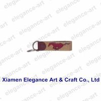 Hand stitched Wild Horse Needlepoint Key Fob Leather Key Ring Holder