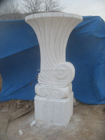 White marble stone fountain vase