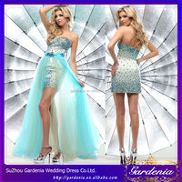 Gorgeous Colored Beaded with Detachable Train Sky Blue Asian Prom Dresses