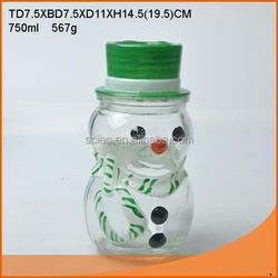 Hand drawing snowman glass candy jar /nice glass jar