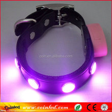 LED Flashing Light Adjustable Night Pet Dog Safety TPU Leather 3 Size Collar Necklace Leash