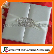 Luxurious Silk Folio Wedding Invitation Card with Ribbon and Brooch