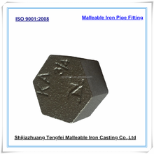 Malleable cast iron end cap for water pipe, hexagon cap