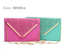 Factory price stock wholesale and OEM manufacture multi colors women`s bag lady hand bag leather fashion envelope clutch bag