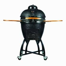 Innovative Black Ceramic Kamado Smoker Charcoal Grill for Outdoor Backyard Barbecue with Sturdy Cart