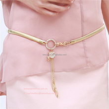 Fashion Thin Belt Fashion Accessories Gold Metal Waist Chain Pendent Diamond Cystal Goldfish studded belts for ladies