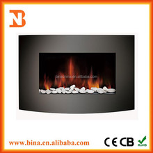 2015 wall mounted Curved decor flame pebble electric fireplace heater
