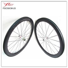 Cheap Chinese wheelset 50mm clincher u Shape carbon bicycle wheel, 25mm wide bike wheel carbon with Bitex hub