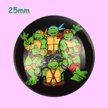 25mm Animal Glass Cabochon Turtle Image Glass Dome Flat Back Cover Embellishments