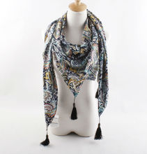 fashionable vintage paisley printted kerchief with tassel