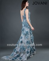 Free Shipping 2014 Arabic Designer Hot Selling Appliqued Fishtail Formal Dress EM-0199 funky gown girls party dresses