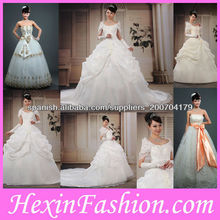 Vestido de novia de novia de encaje con volantes blancos