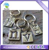 custom alphabet single letter metal stamp debossed Keychain keyring