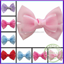 In Stock 4.2'' Polyester Satin Ribbon Boutique Baby Girls Hair Bows WITH Clip,Silk Chiffon Hairbow