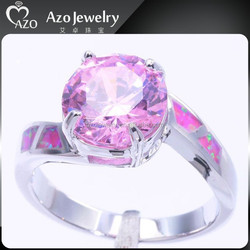 Elegant 925 Sterling Silver Pink Fire Opal Women Fancy Rings