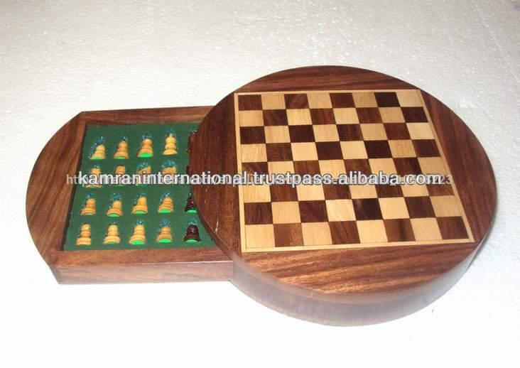 Jeu d'échecs en bois rond, indian bois chess set, modern chess set