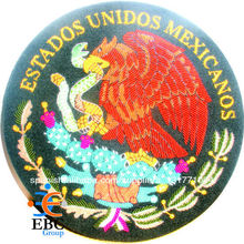 bordado a mano insignia méxico capa de armas, lingotes alambre de antigüedades cresta, parche bordado, insignia insignias