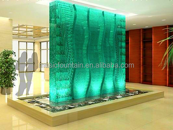 Indoor artificial glass wall bubble waterfall fountain for Glass waterfall design