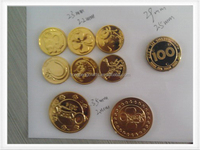 Many available sizes Gold color electroplate Plastic token