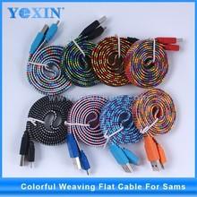 Venta caliente colorida tela de Nylon trenzado Cable USB para el Smartphone flat V8 Cable del cargador