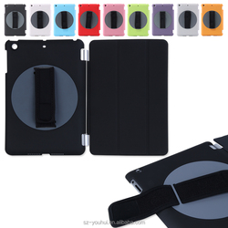 Factory Price Smart Handheld 360 Degree Rotating Back Cover Tripled Folded Case for iPad mini for iPad 2 3 4