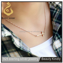 Wholesale alibaba silver jewelry sterling silver chunky necklace plain religious cross necklace