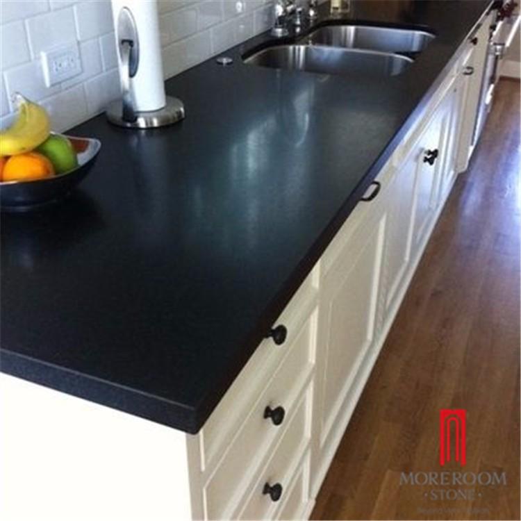 Quartz And Granite Kitchens: Artificial Engineered Pure Black Quartz Stone Kitchen